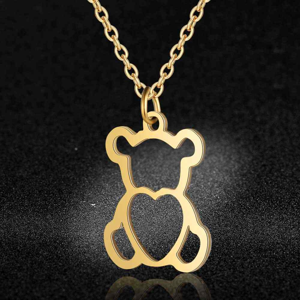 AAAAA Quality 100% Stainless Steel Hollow Bear Charm Necklace for Women High Polish Never Tarnish Jewelry Necklace