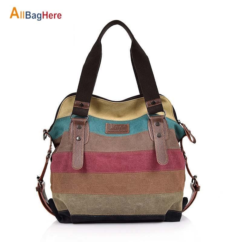 Fashion Waterproof Canvas Bag Women Classic Patchwork Casual Female Crossbody Shoulder Bags Striped Rainbow Purse Pouch Handbags