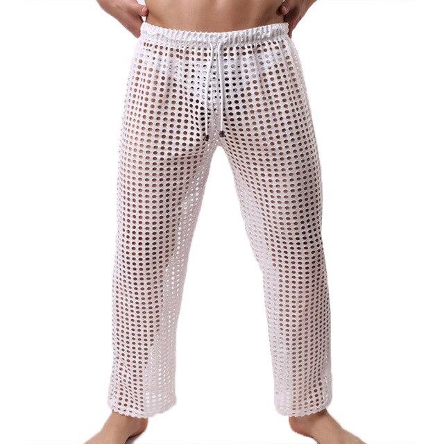Men Pyjamas Trousers Mesh Home Pants Fishnet Transparent Casual Breathable Homewear Lacing Sexy Sleep Bottoms Loose Lounge Pants