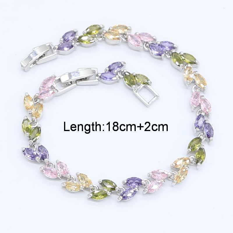 Multicolor Rainbow Zircon 925 Silver Jewelry Set for Women with Bracelet Earrings Necklace Pendant Ring Gift Box