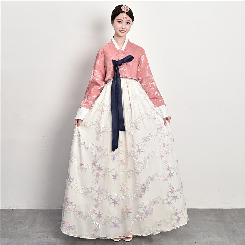 Korean Fashion Ancient Costume Women Hanbok Dress Stage Performance Traditional Court Wedding Pincess Dress Minority Clothing