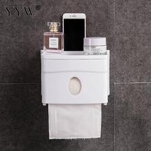 1pcs Protable Toilet Paper Holders Plastic Punch-free Roll Holder Shelf Tray Bathroom Waterproof Tissue Box