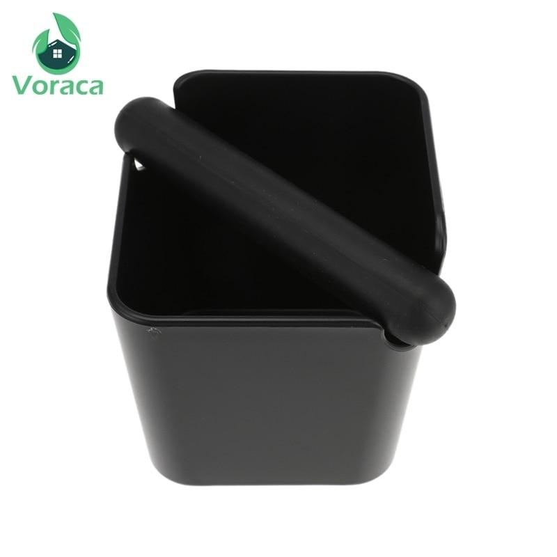 ABS Coffee Knock Box Black Espresso Grind Container Anti Slip Coffee Grind Dump Bin Waste Bin With Detachable Knock For Barista
