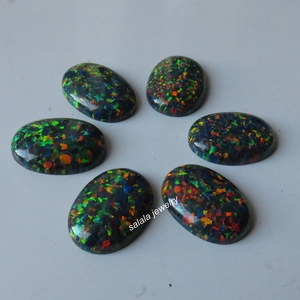 Image 1 - 20 pçs/lote 13x18mm op32 sintético Preto Opala de Fogo Oval Cabochão Opala Pedra para a Jóia DIY