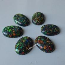 20 pièces/lot 13x18mm op32 synthétique noir feu opale ovale Cabochon opale pierre pour bijoux à bricoler soi même