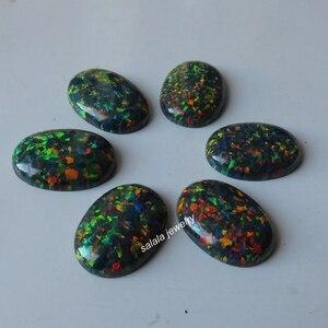 Image 1 - 20 pz/lotto 13x18mm op32 sintetico Nero Opale di Fuoco Ovale Cabochon Opal Pietra per Gioielli FAI DA TE
