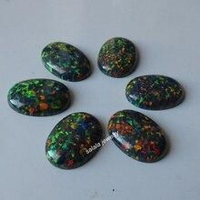 20 sztuk/partia 13x18mm op32 syntetyczny czarny ognisty Opal owalny Cabochon Opal kamień dla DIY biżuteria