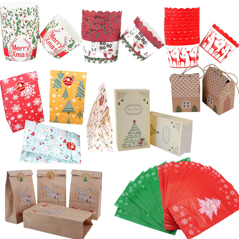 Cyuan Christmas Kraft Paper Gift Bag Kawaii Santa Claus Elk Candy Chocolate Cookies Bag Merry Christmas Decorations Navidad 2019