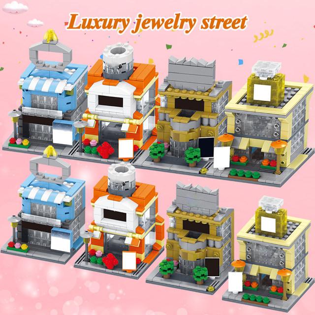 City Street Mini Bircks Dessert Street Asian Food Street Clothing Street Architecture 3D Model Building Blocks Toys for Kids