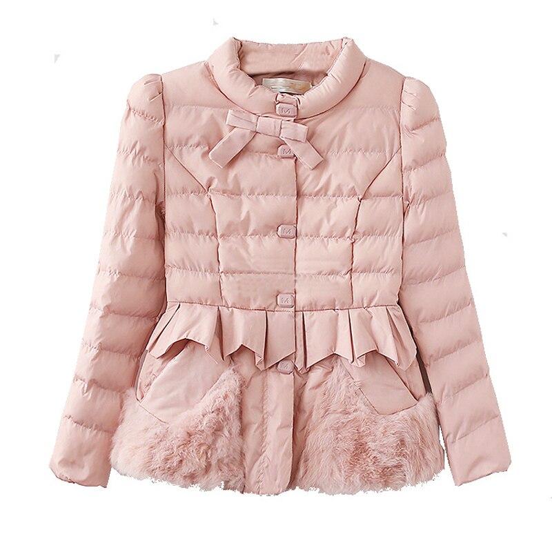 Femmes veste d'hiver avec arc mince pardessus 2019 doux fourrure chaude épaisse Parka coton rembourré femme mode femmes manteau QQ037