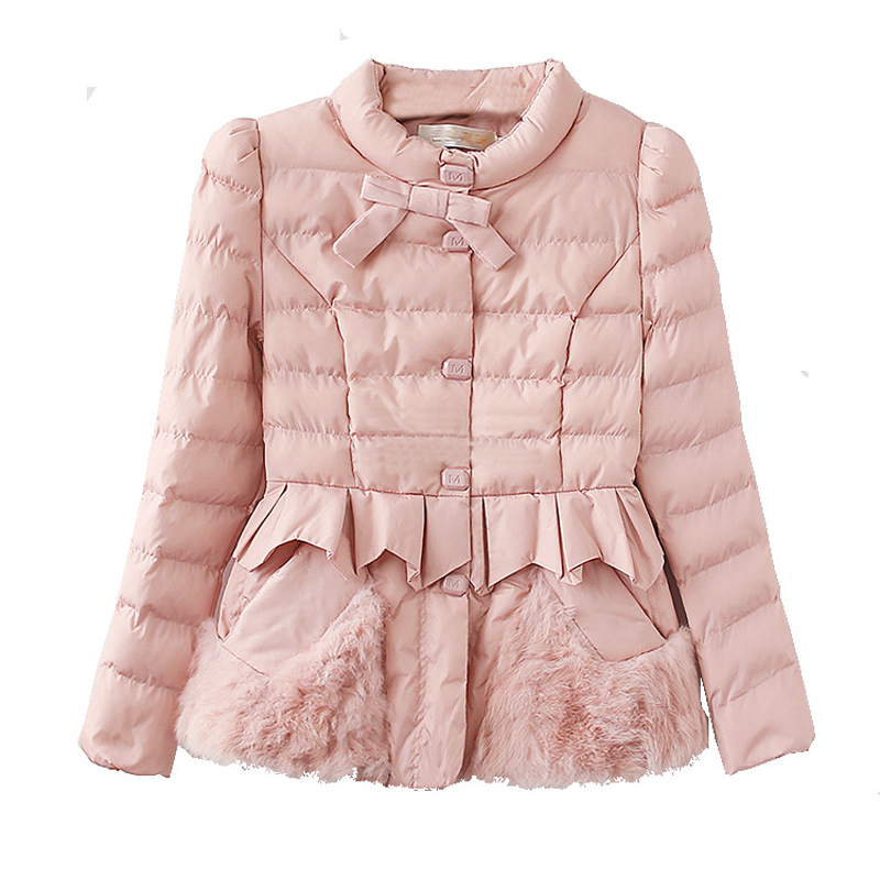 Women Winter Jacket With Bow Slim Overcoat 2019 Soft Fur Warm Thick   Parka   Cotton Padded Female Fashion Womens Coat QQ037