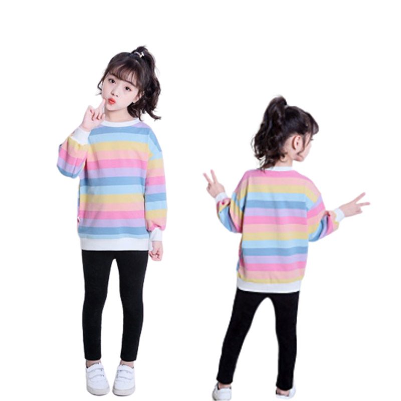 2020 Brand Autumn Children's Long Sleeve T-Shirt Girls Rainbow Strip Cotton Sweatshirt 3-12Y Kid Novelty Cartoon Tops Clothes