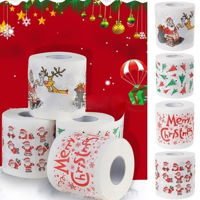 Christmas Pattern Printing Roll Toilet Paper Household  Tissue Bathroom Web Q0KD