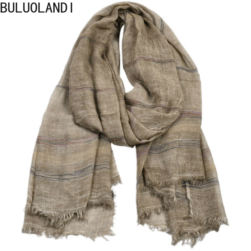 European And American Men's 2019 New Yarn-dyed Striped Scarf Men's Winter Solid Color Cotton And Linen Scarf Casual Wild >175cm