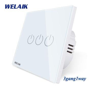 цена на WELAIK UK Touch-Switch Crystal-Glass Panel-Switch Wall-Intelligent Switch-Smart-Switch 3gang-1way LED-Lamp B1931CW/B
