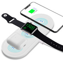 QI Wireless Charger For iPhone X XS MAX XR 8 Fast Wireless Base Full load 3 in 1 Charging Pad for Airpods 2019 Apple Watch 4 3 2(China)