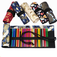48 Holes Kawaii Makeup Brushes School Roll Pencil Case Canvas Pen Bag for Girls Boys Chinese Style Office Supplies Stationery