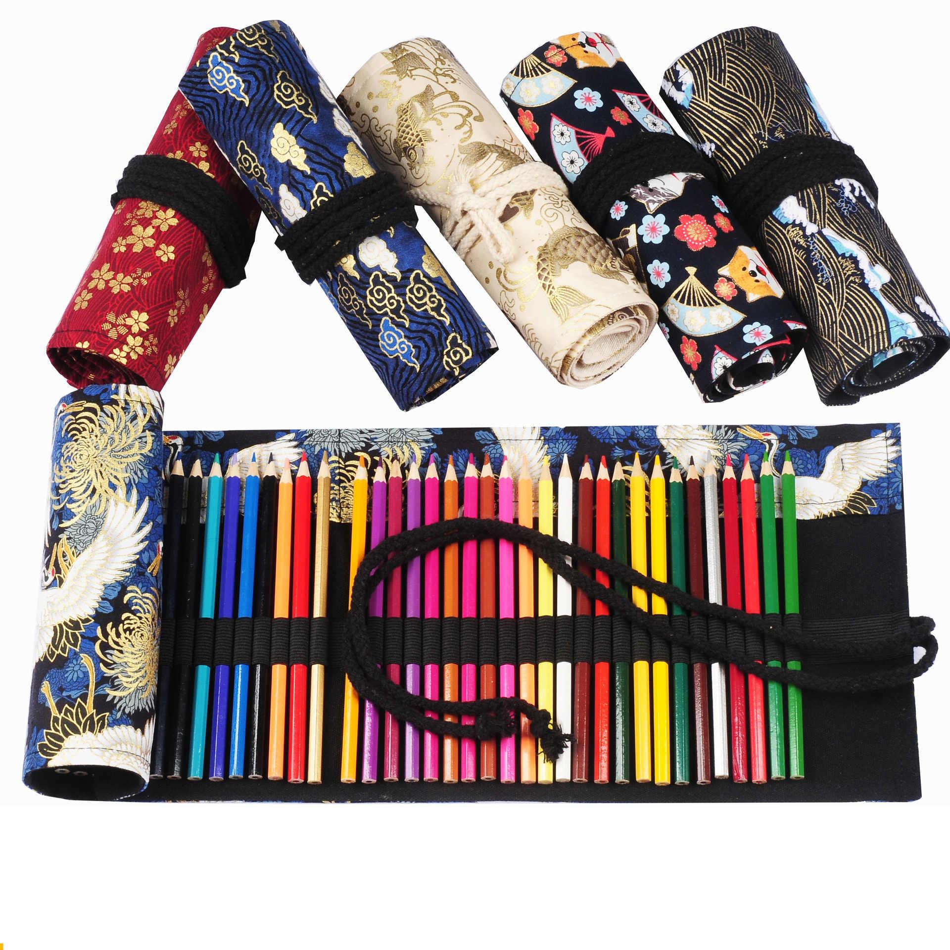 48 หลุม Kawaii แปรงแต่งหน้าโรงเรียน ROLL ดินสอปากกากระเป๋าสำหรับหญิงสไตล์จีนอุปกรณ์สำนักงานเครื่องเขียน