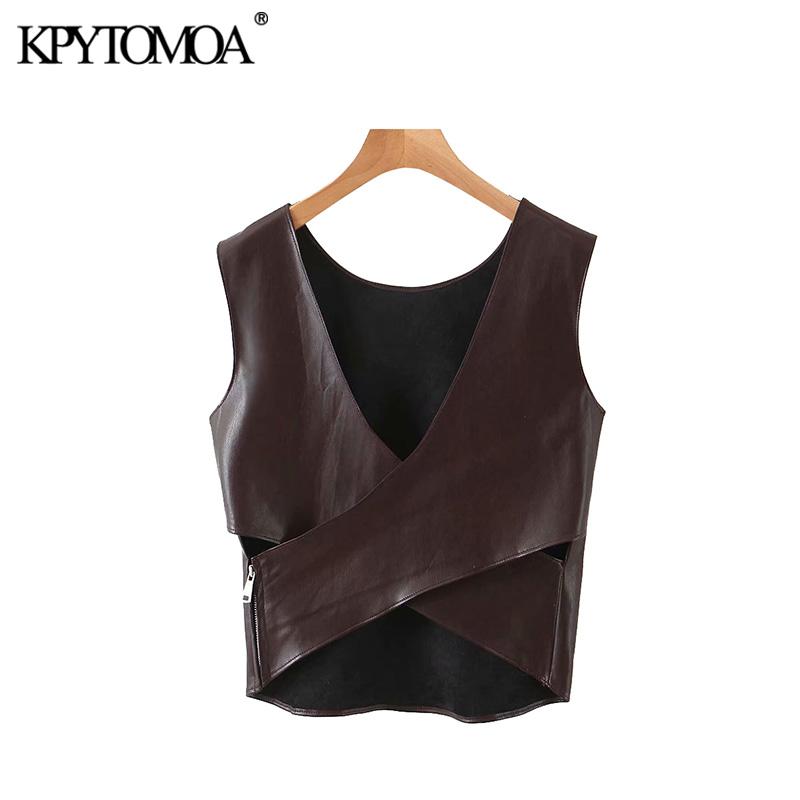 KPYTOMOA Women 2020 Fashion PU Faux Leather Cropped Blouses Vintage Crossover Back Side Zipper Female Shirts Blusas Chic Tops