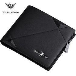 WILLIAMPOLO Band leather genuine men zipper short wallet men Cowhide Mini Purse fashion design luxury wallets for men