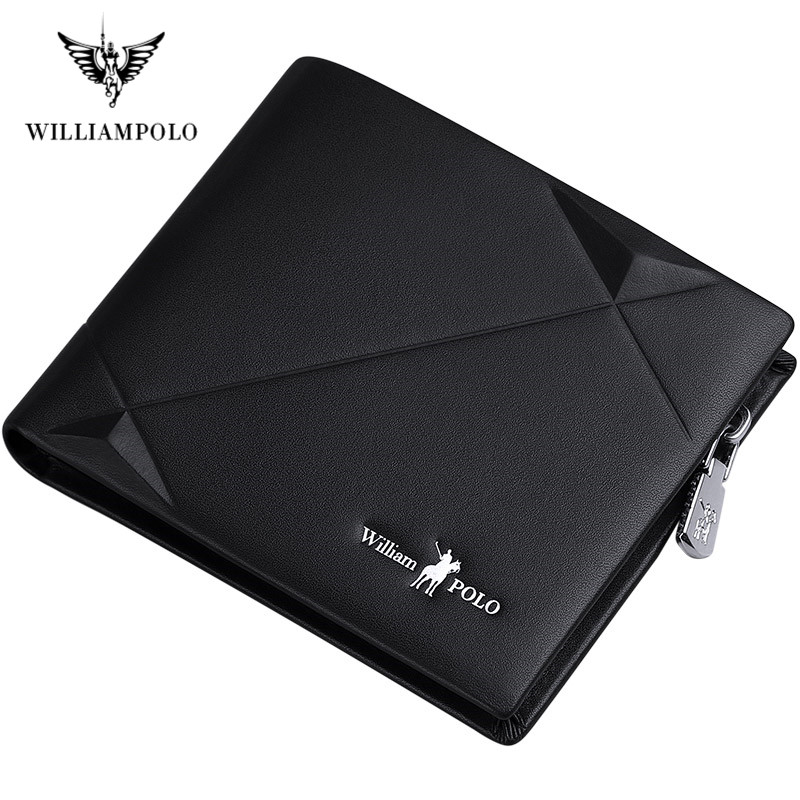 WILLIAMPOLO Band Leather Genuine Men Zipper Short Wallet Men Cowhide  Mini Purse Fashion Design Luxury Wallets For Men