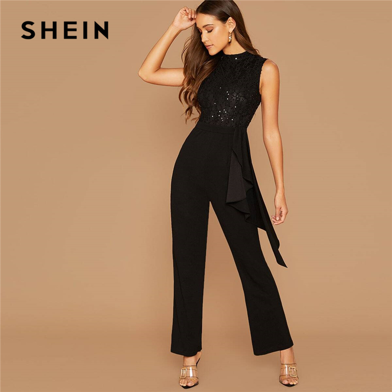 SHEIN Black Sequin Detail Lace Bodice Ruffle Trim Jumpsuit Women Autumn Sleeveless O-Neck High Waist Wide Leg Elegant Jumpsuits