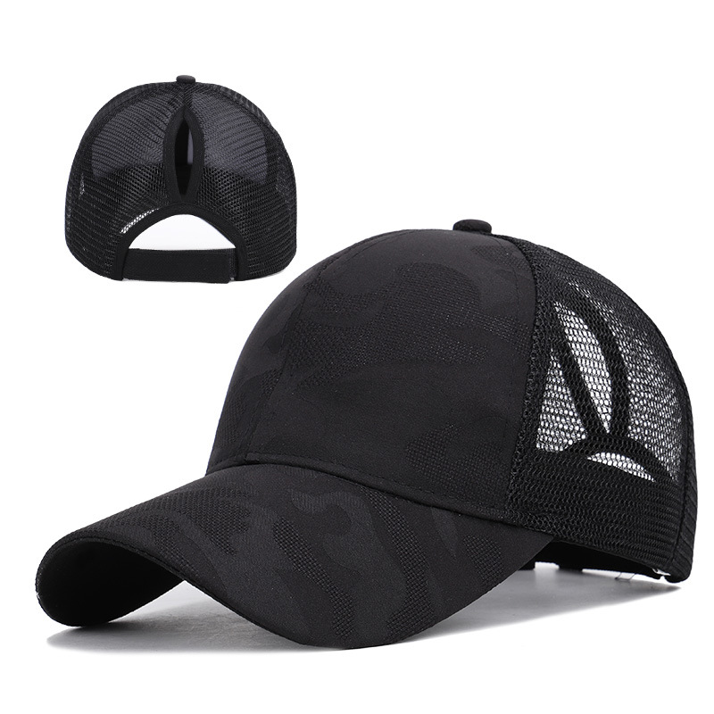 2020 Fashion Ponytail Baseball Cap Sun Hat Women Snapback Hip Hop Snapback Caps Female Summer Dad Hats Mesh Outdoor Hat Black