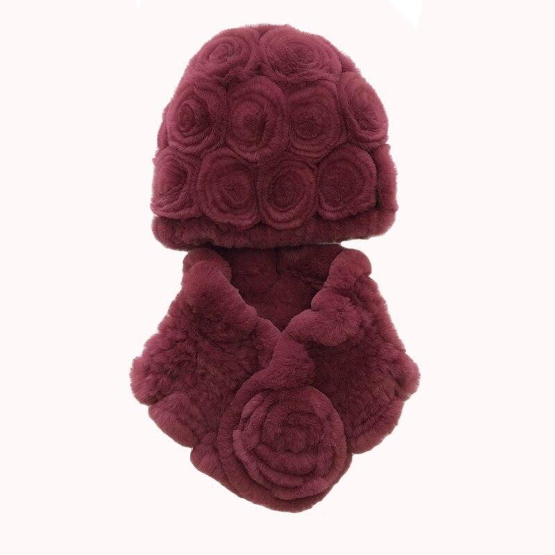 2019 rex lapin fourrure chapeau écharpe ensemble nouveau femme hiver rose chapeau épaissi chaud oreille protection fourrure tissé chapeau enveloppes pour les personnes âgées