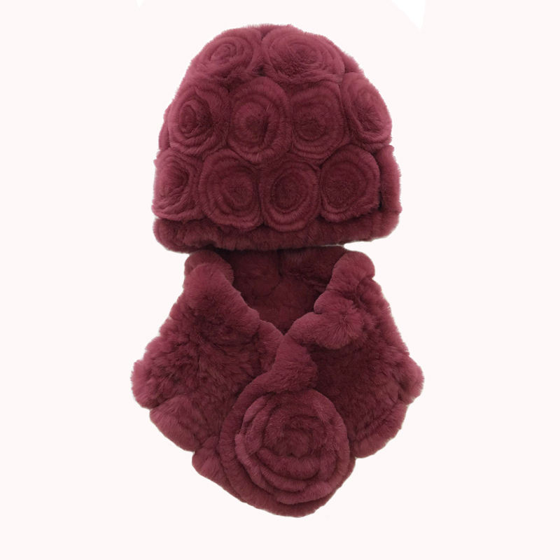 2019 Rex Rabbit Fur Hat Scarf Set New Female Winter Rose Hat Thickened Warm Ear Protection Fur Woven Hat Wraps For The Elderly