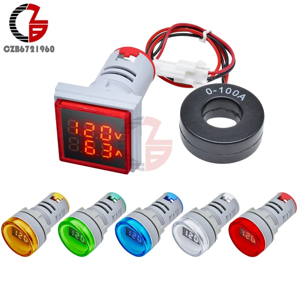 Round Square AC Digital Voltmeter Ammeter 50-500V 0-100A Voltage Current Meter 110V 220V 10A 20A Volt Tester Monitor Detector