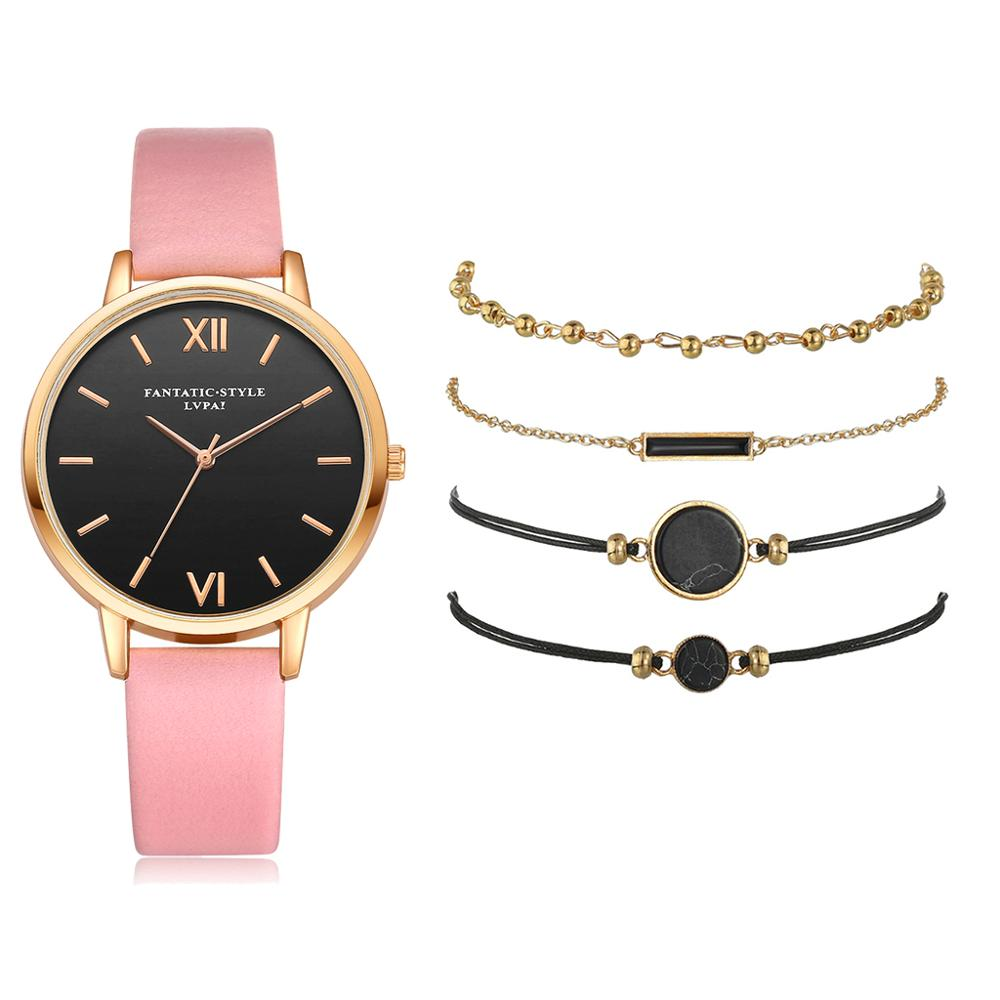 5pcs Set Top Style Fashion Women's Luxury Leather Band Analog Quartz WristWatch Ladies Watch Women Dress Reloj Mujer Black Clock 5