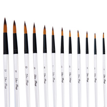 12pcs Nylon Hair Wooden Handle Watercolor Paint Brush Pen Set For Learning Diy Oil Acrylic Painting Art Paint Brushes Supplies