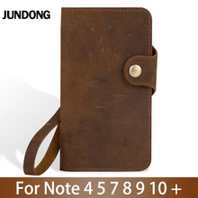 Leather Flip Phone Case For Samsung Galaxy Note 4 5 7 8 9 10 Plus case Cowhide Crazy horse skin Card slots Cover 3 card slots wallet crazy horse leather mobile case for iphone 7 plus 5 5 brown