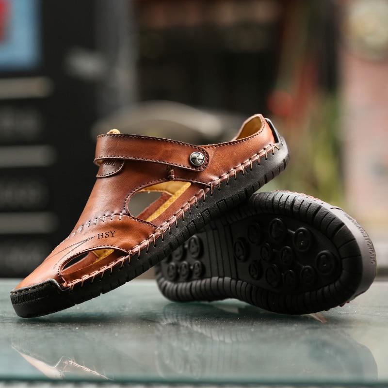 Men Shoes Sandals Platform Hiking Outdoor Casual Fashion Flat Genuine