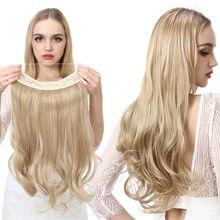 Extensions de cheveux synthétiques sans Clip, faux cheveux ondulés naturels, postiche de 14, 16, 18 pouces, bouclés, blonds, noirs, bruns