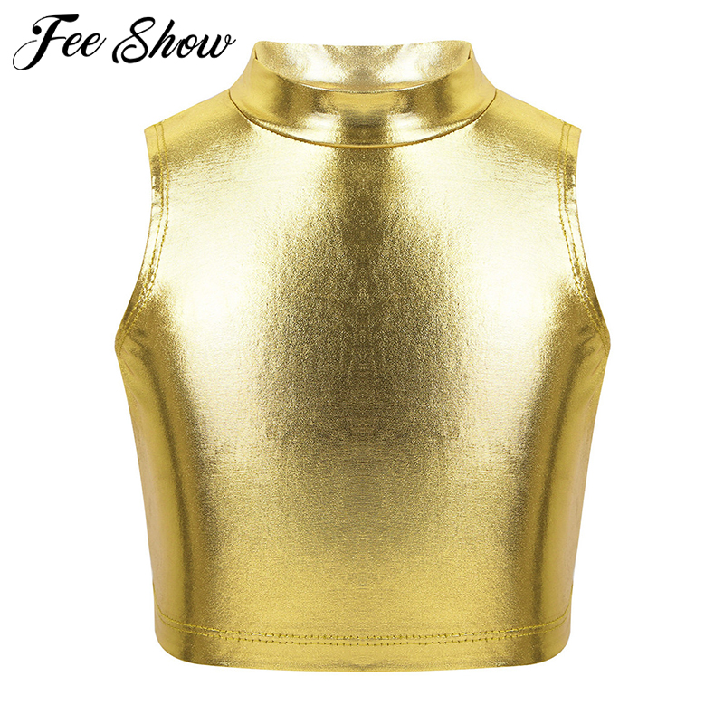 Kids Teens Sleeveless Turtleneck Metallic Ballet Gymnastics Crop Tops Children Girls Jazz Performance Dance Wear Costume