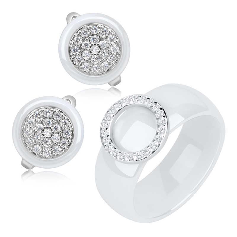 Элегантные Геометрические Ювелирные наборы для женщин, модные ювелирные аксессуары, набор ювелирных изделий, здоровые керамические кольца, серьги, набор, Дубай, подарок