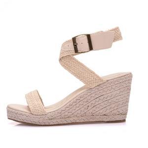 Image 2 - Sandalias de verano con plataforma y punta redonda para mujer, calzado informal con cuña y punta redonda