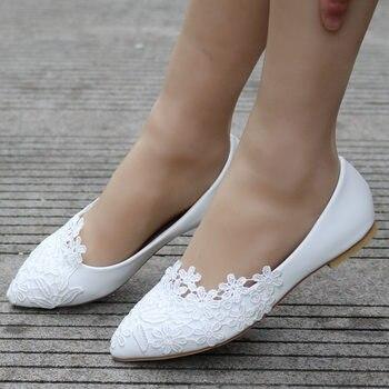 Zapatos de boda, zapatos planos de Ballet de Reina para novia, zapatos casuales de boda de cristal de encaje blanco, zapatos de tacón plano para mujer, de Princesa Boda, talla 43
