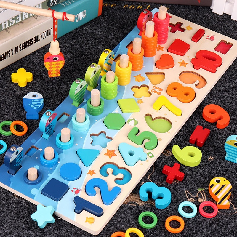 Kids Toys Montessori Educational Wooden Math Toys Count Geometric Shape Match Magnetic Fishing Montessori Game Preschool Toy Hot