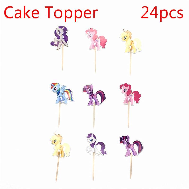 Набор из 24 штук, с рисунком из мультфильма «Мой маленький принт в виде пони вечерние кекс торт топпера, выбирает дети День рождения вечерние ...
