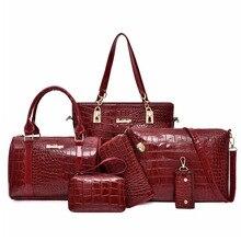 купить 6pcs Handbag Set Leather Luxury Bags For Women 2019 Shoulder Crossbody Bag Messenger Bag Purse Pouch Handbags bolsa feminina дешево