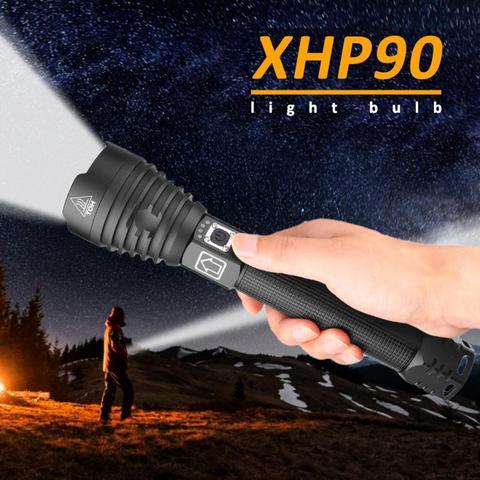 pratico lanterna p90 zoom xhp90 led brilho display de energia de carregamento usb lanterna ao