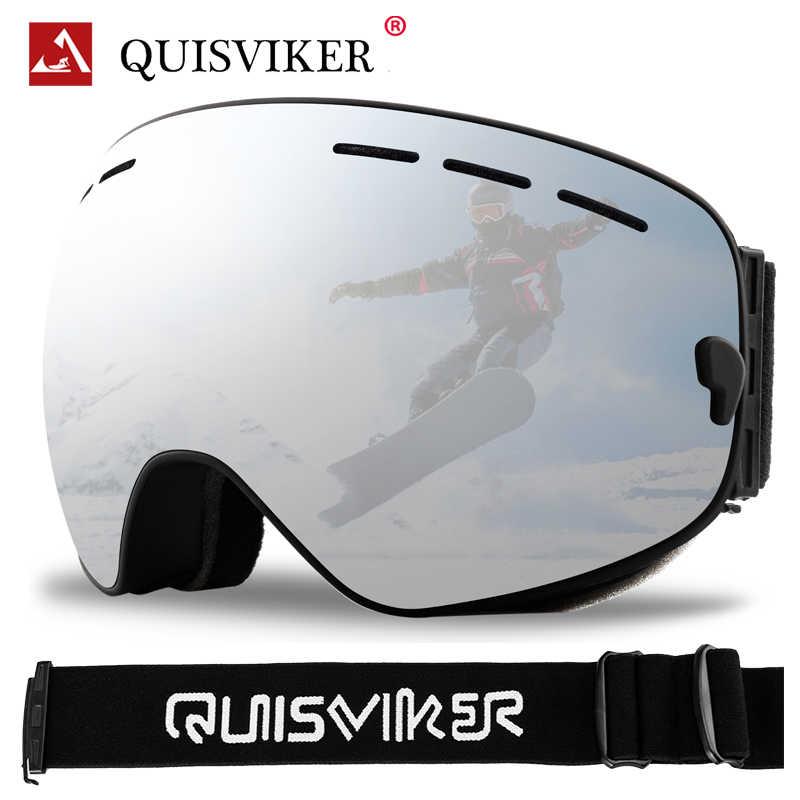 QUISVIKER marka çift katmanlar anti-sis kayak gözlüğü kayak maskesi erkekler kadınlar Snowboard gözlük kar araci UV400 kar kayak gözlük