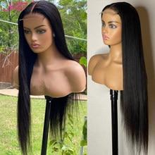 Lanqi – perruque lace front wig brésilienne non-remy, cheveux naturels, lisse, 4x4, bon marché, pour femmes, vente en gros