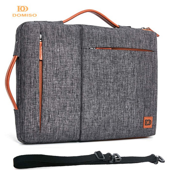 "DOMISO Multi-use Strap Laptop Sleeve Bag With Handle For 10"" 13"" 14"" 15.6"" 17"" Inch Laptop Shockproof Computer Notebook Bag,Grey"