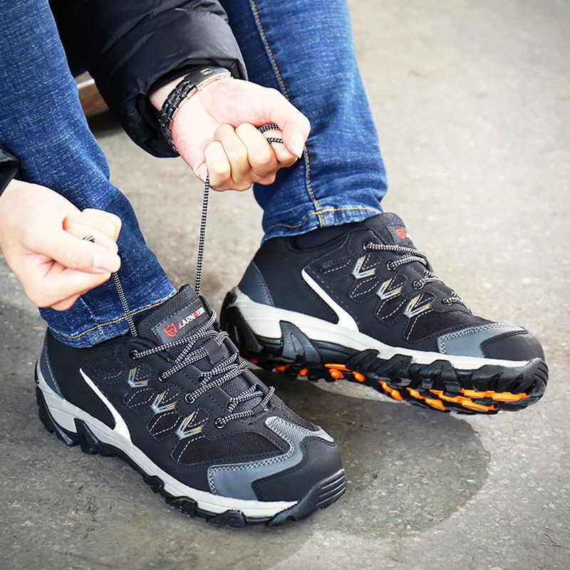 LARNMERN erkekler çelik burun iş güvenliği ayakkabıları yansıtıcı nefes açık spor ayakkabı botları delinmez koruma ayakkabı