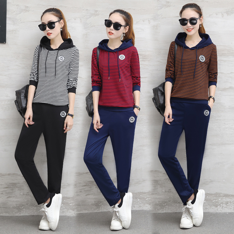 2017 Spring And Autumn New Style Korean-style Stripes Sports Casual WOMEN'S Suit Hooded Students Hoodie Suit Two-Piece Set