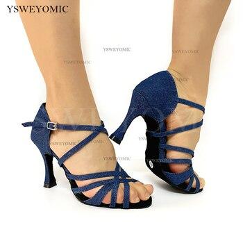 Newest Style Women Dance Shoes Thicker Insole Denim Upper Material Fashion Bachata Ballroom Latin Salsa Dance Shoes 9cm Cuban g d wilson cuban dance op 86