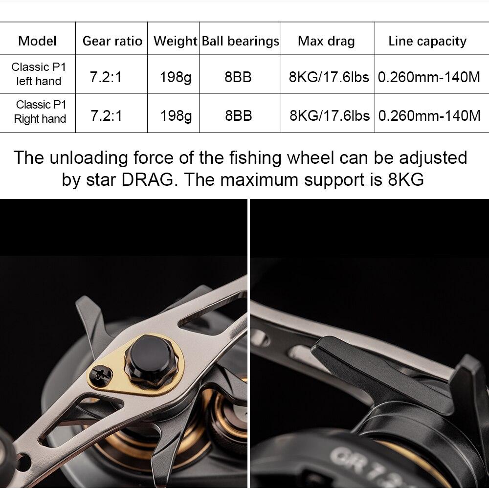 Рыболовная катушка Obei Classic P1, двойная рукоять, максимальное тяговое усилие 8 кг, повышенная редукция 7,2: 1 2